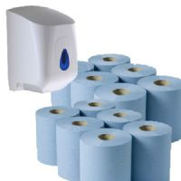 12 Blue Centrefeed Rolls Paper Towels & Dispenser